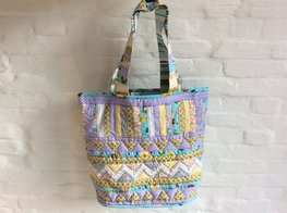 Lila-gele patchwork shopper