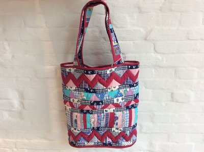 Paarse patchwork shopper