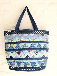 XL shopper patchwork blauw